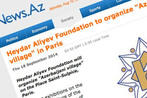 News.az : Heydar Aliyev Foundation to organize « Azerbaijani village » in Paris